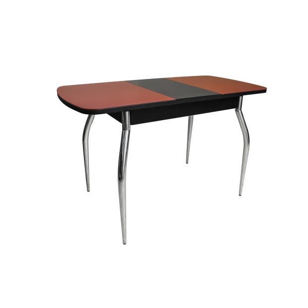 Стол ПГ-02 СТ разложенный (венге-красное-черная-хром)